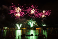 Firework over the rhine river Royalty Free Stock Photo