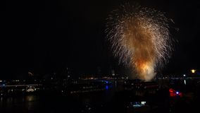 Firework over the river Rhine, Cologne stock video footage