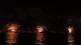 firework over sea at night /celebrating annivarsary Stock Photo