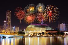 Firework over Singapore cityscape Stock Photo