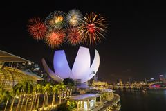 Firework over Singapore skyline and Marina bay Stock Images