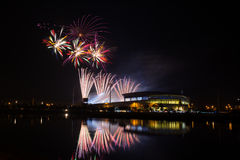 Firework over Stadium in nighttime Royalty Free Stock Photo