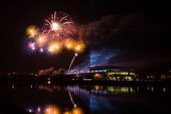Firework over Stadium in nighttime Royalty Free Stock Photos