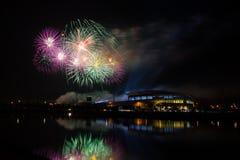 Firework over Stadium in nighttime Royalty Free Stock Image