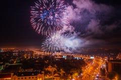 Firework over Voronezh river Stock Photos