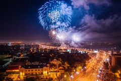 Firework over Voronezh river Royalty Free Stock Images