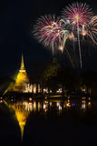 Firework with pagoda at  Sukothai Thailand Royalty Free Stock Image