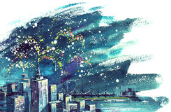 Firework. Painting of Fireworks above Urban City Stock Photo