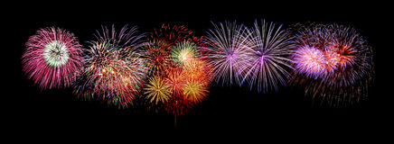 Firework Panorama on black background Royalty Free Stock Photo
