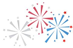 Firework paper cut on white background. Isolated Stock Photos