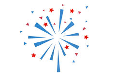 Firework paper cut on white background. Isolated handmade paper cut, not illustration Stock Images