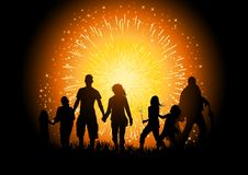 Firework Party. A crowd of people at a firework display. Vector Illustration Royalty Free Stock Images