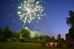 Firework. Photo of natural scenery in Russia, far from cities Royalty Free Stock Photos