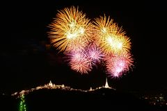 Firework at Phra Nakhon Khiri festival royalty free stock images