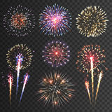 Firework pictograms black background set Royalty Free Stock Photo