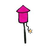 Firework pink rocket. Pink firework prepare for launch Stock Photo