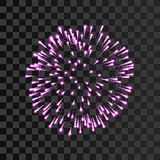 Firework pink sparkle  transparent background. Beautiful night fire, decoration, holiday, Christmas, New Year. Birthday. Symbol festival, American 4th july Royalty Free Stock Photography