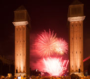 Firework at Plaza de Espana in night Royalty Free Stock Photography