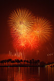 Fireworks over tropical resort Royalty Free Stock Images