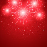 Firework on red background. Shiny firework on red starry background, illustration Royalty Free Stock Photo