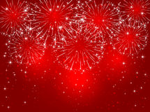 Firework on red background. Red sparkling fireworks on shiny background, illustration Stock Images