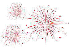 Firework with red hearts on white background. Stock Photography