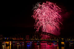 Firework in red lights Royalty Free Stock Photo