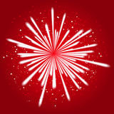 Firework on red. Starry fireworks on red background Royalty Free Stock Image