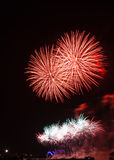 Firework in red and white colors Stock Photo