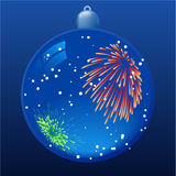 Firework reflection. Blue christmas ball with firework reflection. All elements are separate objects and grouped.No transparency Royalty Free Stock Photography