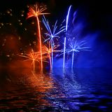 Firework reflection in water Royalty Free Stock Photo