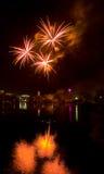 Firework Reflections 4. Fireworks display reflecting in Spokane River, Downtown Spokane, WA Royalty Free Stock Photos