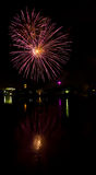 Firework Reflections 5. Fireworks display reflecting in Spokane River, Downtown Spokane, WA Stock Photo