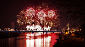 Night bridge and firework Royalty Free Stock Image