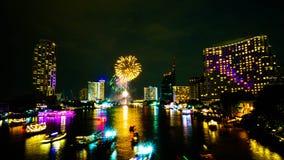Firework on river, Bangkok Stock Image