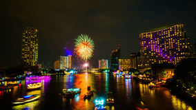Firework on river, Bangkok Royalty Free Stock Photography