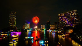 Firework on river, Bangkok Stock Photos
