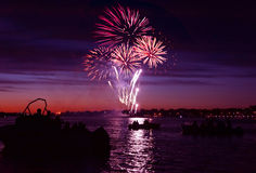 Firework on river Stock Photography