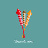 Firework rocket in cartoon style. Object for birthday, christmas Stock Photos
