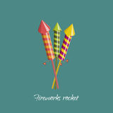 Firework rocket in cartoon style. Object for birthday, christmas Stock Photography