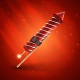 Firework rocket. On red background Stock Images