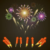 Firework rocket set art cover. Vector illustration Royalty Free Stock Photo