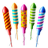 Firework rockets. Vector illustration of set of firework rockets Stock Images