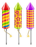 Firework rockets. Of different color on white, vector illustration Royalty Free Stock Photo