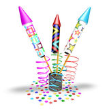Firework rockets. And  confetti, white background Royalty Free Stock Images