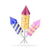 Firework rockets of different color on white. Vector illustration Royalty Free Stock Photos