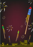 Firework Rockets Explode in a Night Sky. Editable Clip Art. Royalty Free Stock Photos