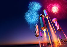Firework Rockets Launching. Into the night sky.  Fireworks event background. 3D illustration Stock Images