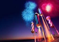 Firework Rockets Launching royalty free illustration