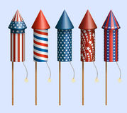 Firework rockets. Set of pyrotechnic rockets, with design for fourth of july, and other holidays, EPS 10 contains transparency Royalty Free Stock Images